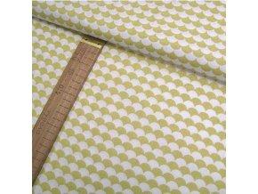 Bavlněné plátno - Tašky - šupiny, žlutá - šíře 160cm/1bm