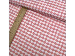 Bavlněné plátno - Tašky - šupiny, lososová - šíře 160cm/1bm