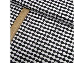 Bavlněné plátno - Tašky - šupiny, černá - šíře 160cm/1bm