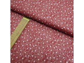 Bavlněné plátno - Hvězdy a spirálky na červené - šíře 140cm/1bm