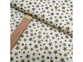 Bavlněné plátno - Hvězdy zelené - šíře 140cm/1bm