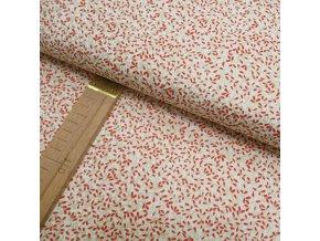 Bavlněné plátno - Lístky na krémové - šíře 140cm/1bm