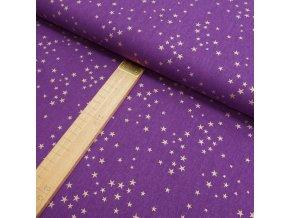 Bavlněné plátno - Fialová hvězdy zlatotisk - šíře 150cm/1bm