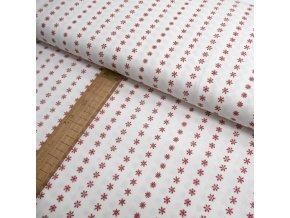 Bavlněné plátno - Tmavě červená vločky na bílé - šíře 150cm/1bm