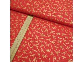 Bavlněné plátno - Větvičky červená + zlatotisk - šíře 140cm/1bm