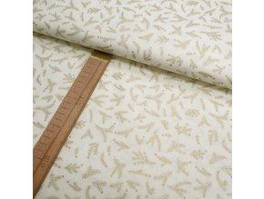 Bavlněné plátno - Větvičky krémová + zlatotisk - šíře 140cm/1bm