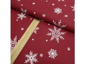 Bavlněné plátno - Tmavě červená vločky bílá - šíře 150cm/1bm