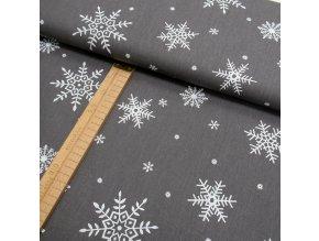 Bavlněné plátno - Tmavě šedá vločky bílá - šíře 150cm/1bm