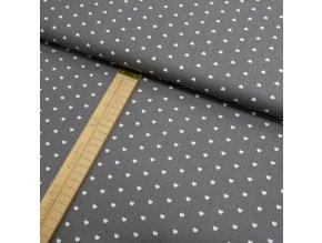 Bavlněné plátno - Tmavě šedá srdce bílá - šíře 150cm/1bm