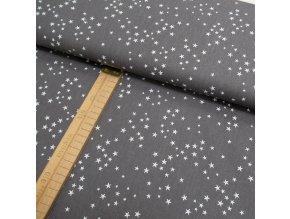Bavlněné plátno - Tmavě šedá hvězdičky bílá - šíře 150cm/1bm