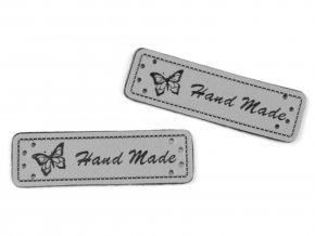 Cedulka - nášivka Hand made - 15 x 50mm / 1ks / šedá