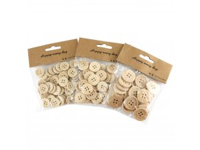 Knoflíky dřevěné aranžovací - sáček - různé velikosti