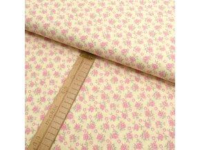 Bavlněné plátno - vanilková - malé růžičky - šíře 150cm/1bm