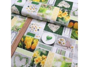 Bavlněné plátno - Kopretiny, tulipány, narcisy - digi tisk - ŠÍŘE 140CM/1BM