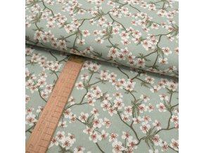 Bavlněné plátno - sakura na mátově zelené - šíře 150cm/1bm