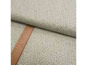 Bavlněné plátno -  květy zeleno-šedá - šíře 150cm/1bm