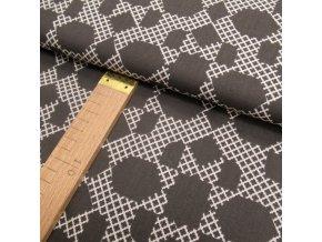 Bavlněné plátno - geometrie tmavě hnědá - šíře 150cm/1bm