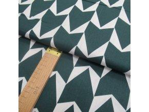 Bavlněné plátno - šipky temně petrolejově-zelené - šíře 150cm/1bm