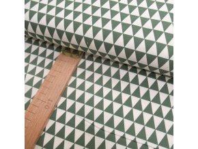 Bavlněné plátno - zelené trojúhelníčky - šíře 150cm/1bm