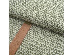 Bavlněné plátno - Plástev olivová, bílá - šíře 150cm/1bm