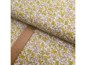 Bavlněné plátno - Květinky žlutá, zelená, růžová - šíře 150cm/1bm