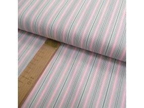 Bavlněné plátno - pruh šedá, růžová - šíře 150cm/1bm