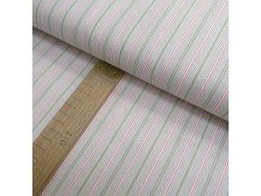 Bavlněné plátno - pruh zelená, růžová - šíře 150cm/1bm