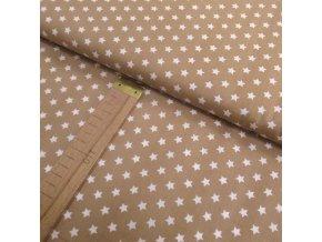 Bavlněné plátno -hvězdy béžová - šíře 150cm/1bm