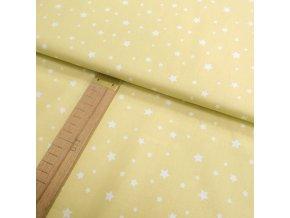 BAVLNĚNÉ PLÁTNO - Hvězdy - žlutá písková - ŠÍŘE 160CM/1BM