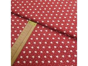 Bavlněné plátno - Srdíčka na červené - šíře 160cm/1bm
