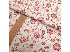 Bavlněné plátno - Květy tmavě červené na krémové - šíře 140cm/1bm