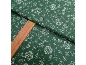 Bavlněné plátno - Květy na zelené - šíře 140cm/1bm
