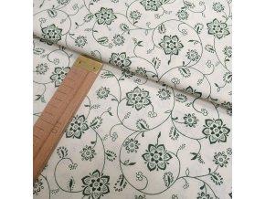 Bavlněné plátno - Květy zelené na krémové - šíře 140cm/1bm