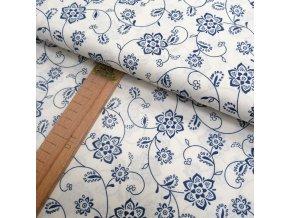 Bavlněné plátno - Květy modré - šíře 140cm/1bm