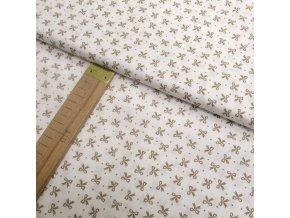 Bavlněné plátno - Béžové mašličky - šíře 140cm/1bm