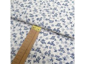Bavlněné plátno - Modré květy na bílé - šíře 140cm/1bm