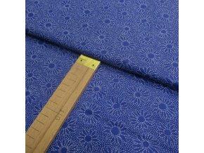 Bavlněné plátno - Modrá - květy z teček - šíře 140cm/1bm