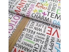 Bavlněné plátno - barevné nápisy - šíře 140cm/1bm