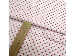 Bavlněné plátno - Červený puntík na bílé - šíře 140cm/1bm