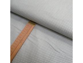 Bavlněné plátno - Bílý puntík na světle šedé - šíře 140cm/1bm