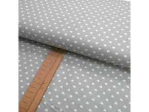 Bavlněné plátno - Bílá srdíčka na světle šedé - šíře 140cm/1bm