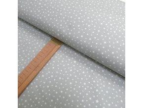 Bavlněné plátno - Hvězdičky na šedé - šíře 140cm/1bm