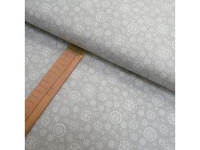 Bavlněné plátno -Mandalky na šedé - šíře 140cm/1bm