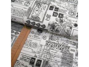 Bavlněné plátno - Dopisy na bílé - šíře 140cm/1bm