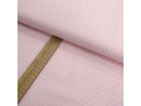 Bavlněné plátno - Kvítky - kolečka světle růžová - šíře 150cm/1bm