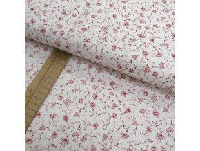 Bavlněné plátno - Kvítky červené na bílé - šíře 150cm/1bm