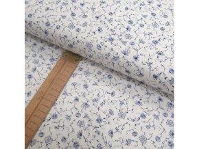 Bavlněné plátno - Kvítky modré na bílé - šíře 150cm/1bm