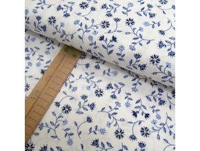 Bavlněné plátno - Květy modré na bílé - šíře 150cm/1bm