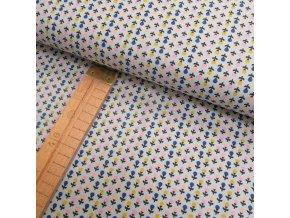 Bavlněné plátno - Kytičky na šedo-modré - šíře 150cm/1bm