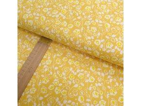 Bavlněné plátno - Květiny žluté - šíře 150cm/1bm